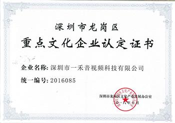 深圳市龙岗区重点文化企业认定证书